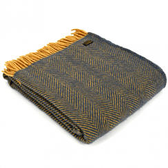 Pure New Wool Knee Lap Blanket, Herringbone Navy & Mustard