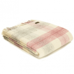 Pure New Wool Knee Lap Blanket, Meadow Check Dusky Pink