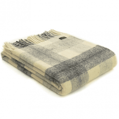 Pure New Wool Meadow Check Slate Throw
