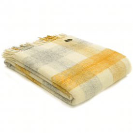 Pure New Wool Meadow Check Yellow Throw