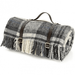 Pure New Wool Polo Cottage Grey Black Picnic Rug