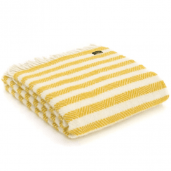 Pure New Wool Stripe Lemon Sherbet Throw
