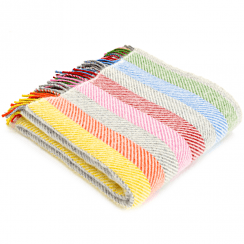 Pure New Wool Stripe Rainbow Grey Throw