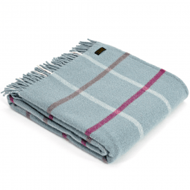 Pure New Wool Windowpane Duck Egg Throw
