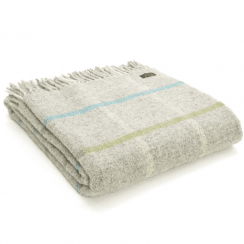Pure New Wool Windowpane Stone Throw