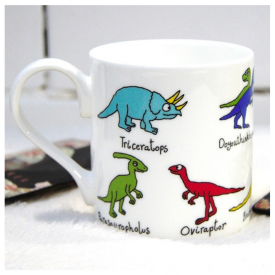 2 Row Dinosaur Bone China Mug