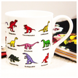 3 Row Multi-coloured Dinosaurs Mug