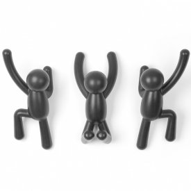 Buddy Set of 3 Hooks Black