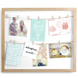 Natural Clothesline Shadowbox Photo Display