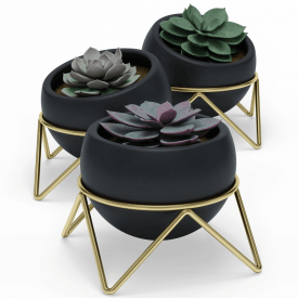 Potsy Planter Set of 3 Black Brass
