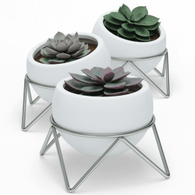 Potsy Planter Set of 3 White Nickel