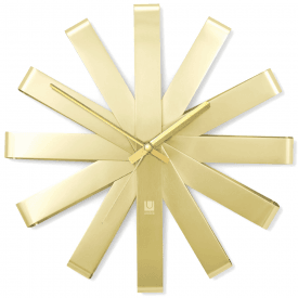 Ribbon Wall Clock Brass