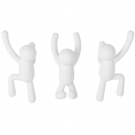 Set of 3 Buddy Wall Hooks White
