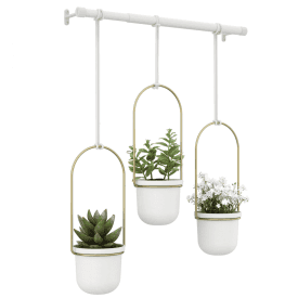 Triflora Hanging Planter White Brass