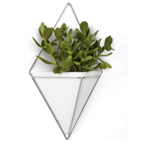 Trigg Large Wall Vessel, White & Nickel
