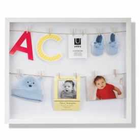 White Clothesline Shadowbox Photo Display