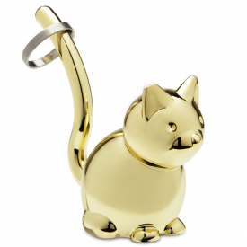 Zoola Cat Ring Holder Brass