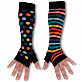 Black Spotty & Stripy Armwarmers