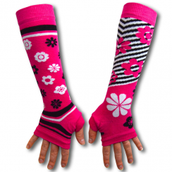 Pink Flowers & Stripes Armwarmers