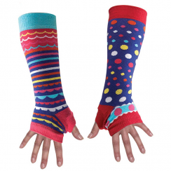 Purple Spotty & Stripy Armwarmers