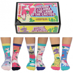 Women's Unicorn Vs Llama in the Land of the Cactus Socks