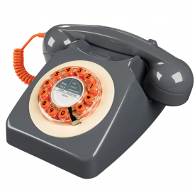 746 Concrete Grey Push Button Retro Telephone