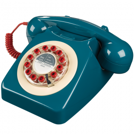746 Petrol Blue Push Button Retro Telephone
