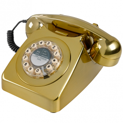 746 Retro Push Button Brass Brushed Telephone