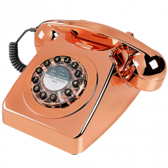 746 Retro Push Button Brushed Copper Telephone