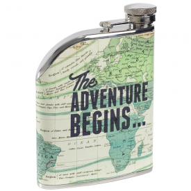 Stainless Steel Cartography Hip Flask