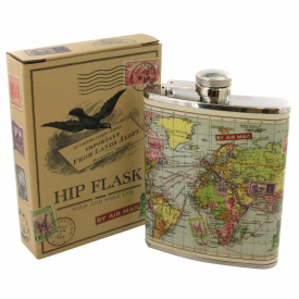 World Map Hip Flask (Gift Boxed)
