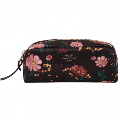 Black Flowers Beauty Make up Bag