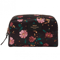 Black Flowers Big Beauty Make up Bag