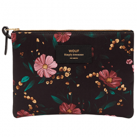 Black Flowers Large Pouch