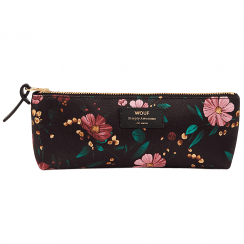 Black Flowers Pencil Case