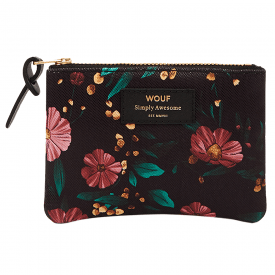 Black Flowers Small Pouch