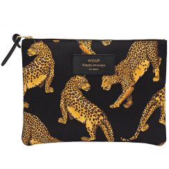 Black Leopard Large Pouch