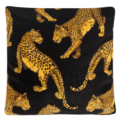 Black Leopard Soft Velvet Cushion