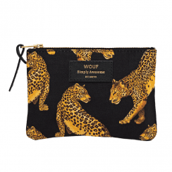 Black Leopard Zipped Small Pouch