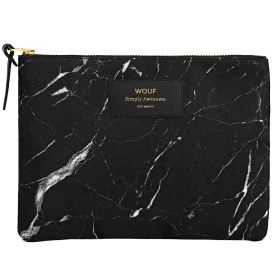 Black Marble Large Pouch