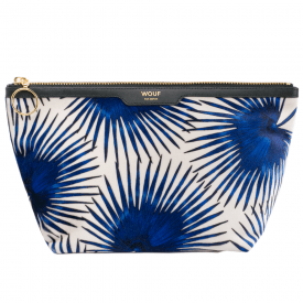 Blue Palms Velvet Big Beauty Make up Bag