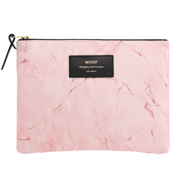 Pink Marble Zipped Large Pouch