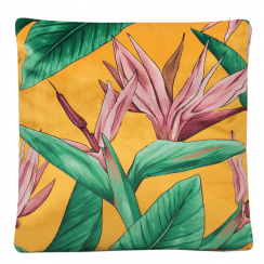Soft Velvet Bird of Paradise Cushion