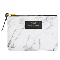 White Marble Zipped Small Pouch
